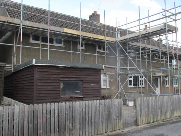 Scaffolding erected in the first stage of the re-roofing scheme.